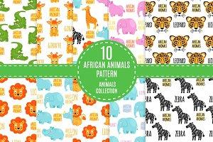 African animals vector pattern