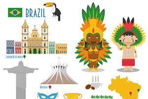 Brazil Flat Icon Set Travel