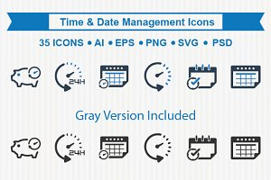 Time & Date Management Icons
