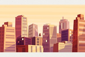 Sunset over cartoon city (Vector)