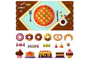 Vector Table with Dessert icons