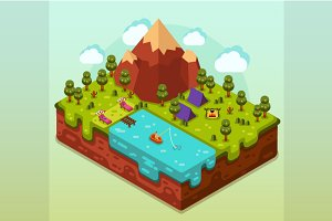 Isometric Camping 3D Vector