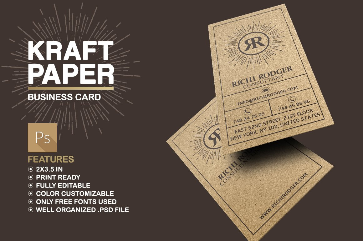 Kraft Paper Business Card ~ Business Card Templates ~ Creative Market