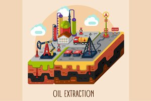 Isometric Oil & Gas Extraction 3D