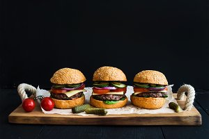 Fresh beef burgers with cheese
