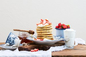 Pancake tower with strawberries