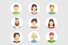 Set of nine flat avatar characters