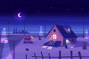 Moonlight over Village (Vector)