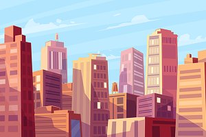 Sunshine over cartoon city (Vector)