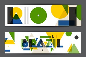 Brazil and Rio abstract banners.