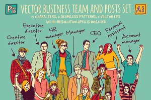 Vector business team and posts set