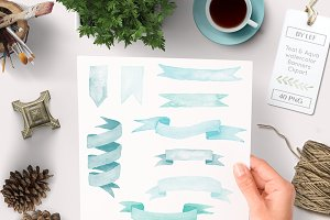 Watercolor Banners Ribbons Clipart