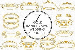 Gold Hand drawn Wedding Ribbon Set