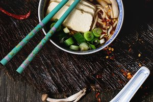 Asian soup ramen with feta cheese