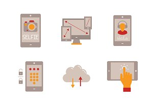 Flat mobile tech icons