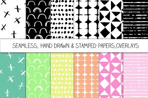 Hand Drawn Seamless Papers-Overlays