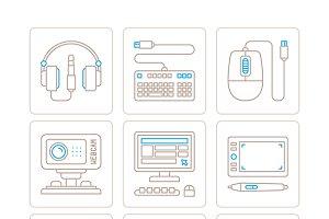 Electronics icons mono line style