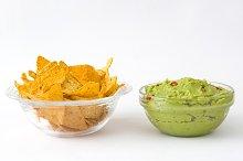 Nachos and guacamole avocado