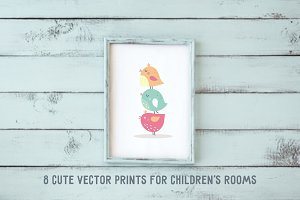 Vector print for children's rooms