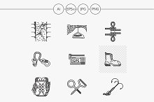 Mountaineering line icons. Part 2
