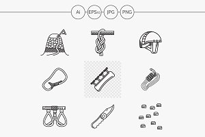 Mountaineering line icons. Part 3