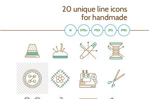 20 flat line vector icons. Handmade