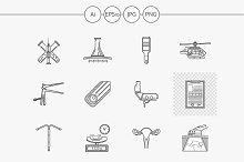 Obstetrics flat line vector icons