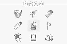 Paintball line vector icons. Set 1