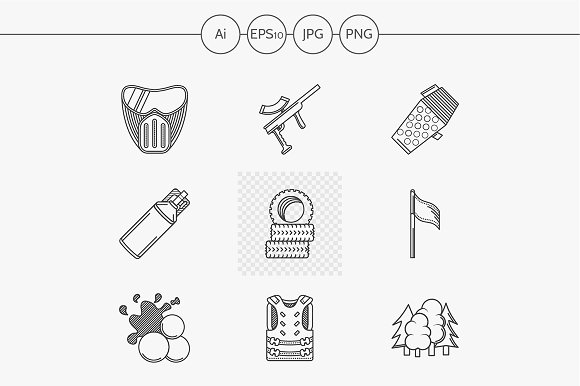 Paintball line vector icons. Set 1 - Icons