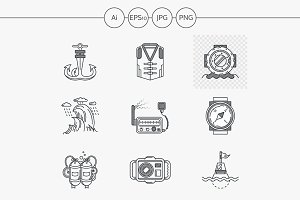Diving flat line vector icon. Part 2