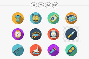 Diving and snorkeling color icons