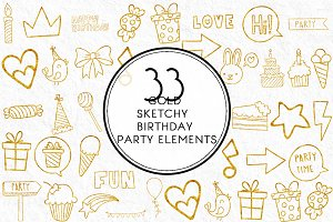 Gold Sketchy Birthday Party Elements
