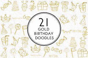 Gold Birthday Doodles