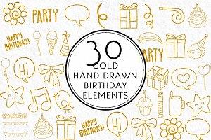 Gold Hand drawn Birthday Elements