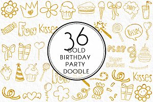 Gold Birthday Party Doodles