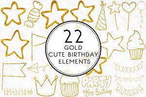 Gold Cute Birthday Elements