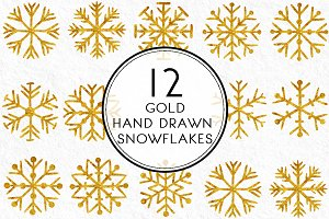 Gold Hand drawn Snowflakes