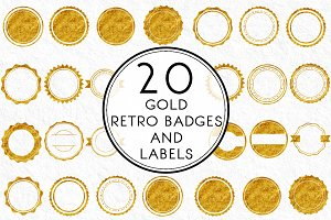 Gold Retro Badges & Labels