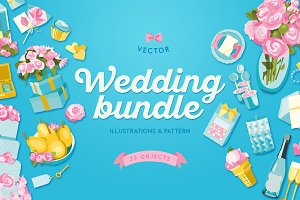Blue Wedding Illustrations Bundle
