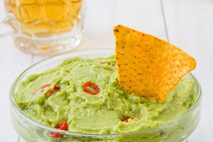 Nachos, guacamole and beer