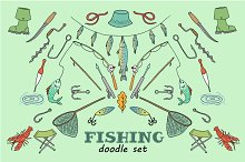 Fishing stuff in doodle style
