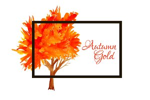 №67 Autumn Gold trees, vector
