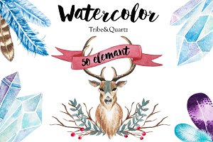 Watercolor Tribe & Quartz graphic