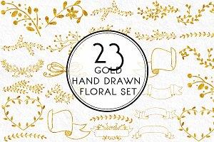 Gold Hand drawn Floral Set