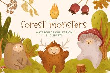 Cute Cartoon Forest Monsters Clipart by  in Graphics