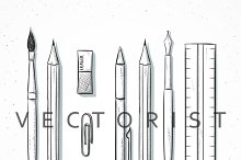Isolated set stationery sketch