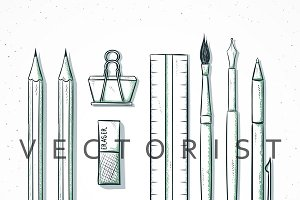 Isolated set stationery sketch style