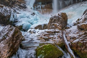 Frozen waterfall in winter