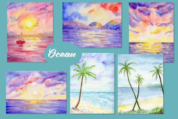 Watercolor Nature Background Ocean