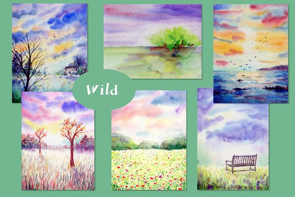 Watercolor Nature Background Wild